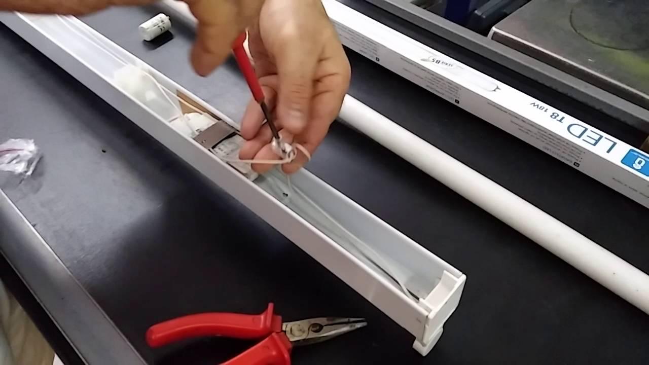 Schema Elettrico Neon A Led : Trasformazione di un portalampada a neon in led youtube