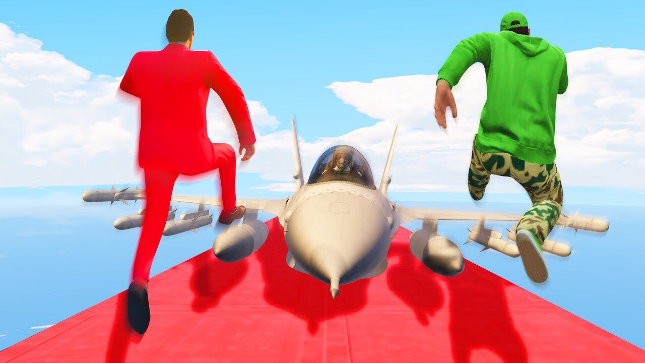 JUMP OVER THE FLYING JET CHALLENGE! (GTA 5 Funny Moments)