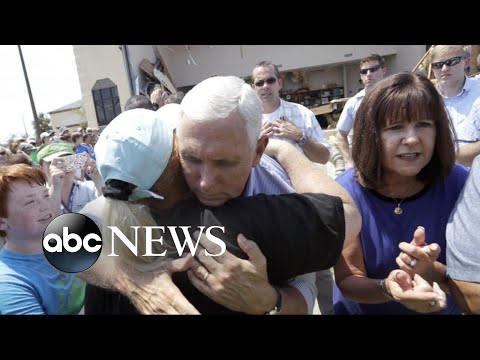 Vice President Mike Pence meets with Harvey survivors