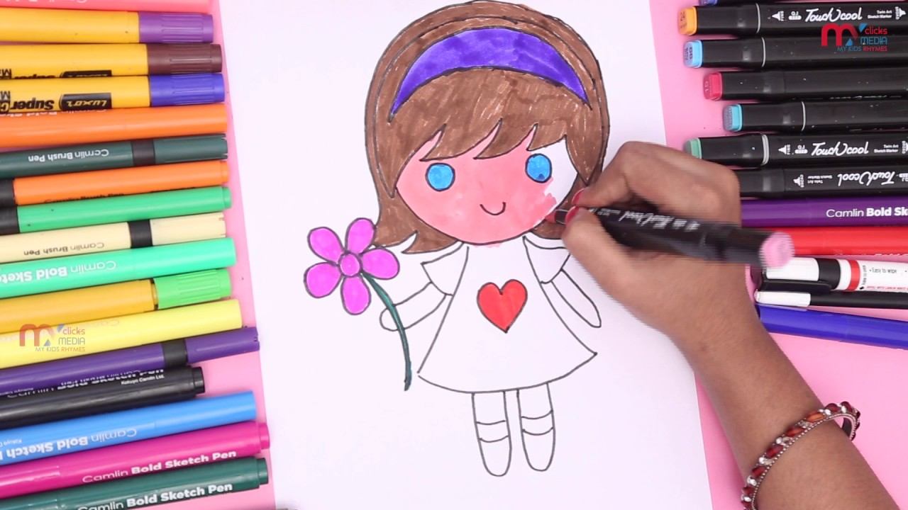 Drawing Barbie Doll And Color Ship To Kids Learning Colors ...