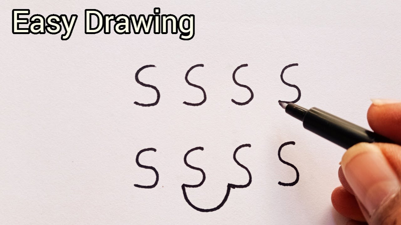 How To Draw Letter S In A Style || Stylish Letter S From SSSS || Very Easy Drawing