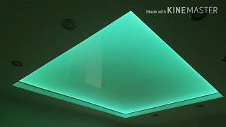 Установка LED подсветки для светопропускающих натяжных потолков