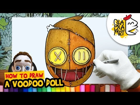 HOW TO DRAW A VOODOO DOLL | Halloween Cartoon Drawing | BLABLA ART