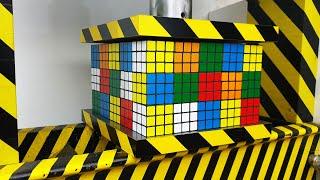 EXPERIMENT HYDRAULIC PRESS 100 TON vs 75 Rubik's Cube