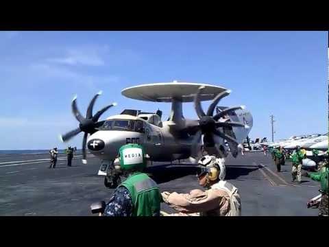 E-2C Hawkeye approaching and landing on USS George Washington
