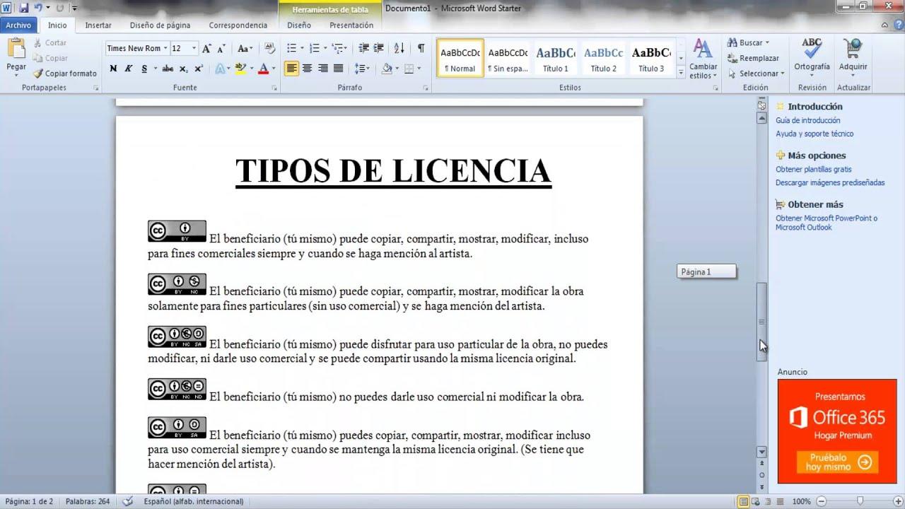 Tipos de licencias creative commons y condiciones de uso for Tipos de licencias para bares