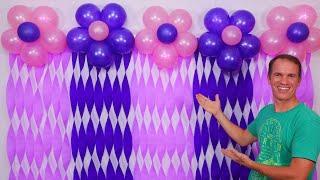 COMO HACER CORTINAS DE PAPEL CREPE Y GLOBOS - decoraciones para cumpleaños - gustavo gg