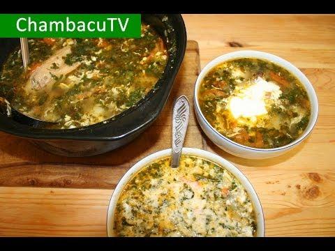 Рецепт: Зеленый борщ с крапивой и щавелем