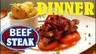 Beef sirloin steak WITH NEW POTATOES -  HOW TO COOK Beef sirloin steak  Chef Ricardo Cooking