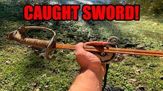 CAUGHT A SWORD MAGNET FISHING! WEAPONS AND MORE FOUND MAGNET FISHING IN AMERICA!!!