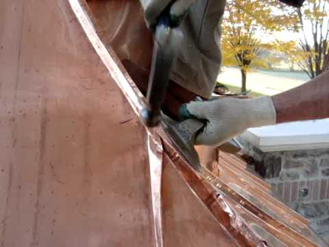Concave Double Lock Standing Seam Copper Roof Youtube