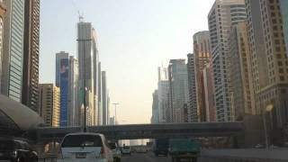 Sheikh Zayed Road Driving Towards Burj Khalifa: Dubai