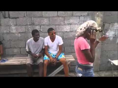 Grenadian girl cutting style on man