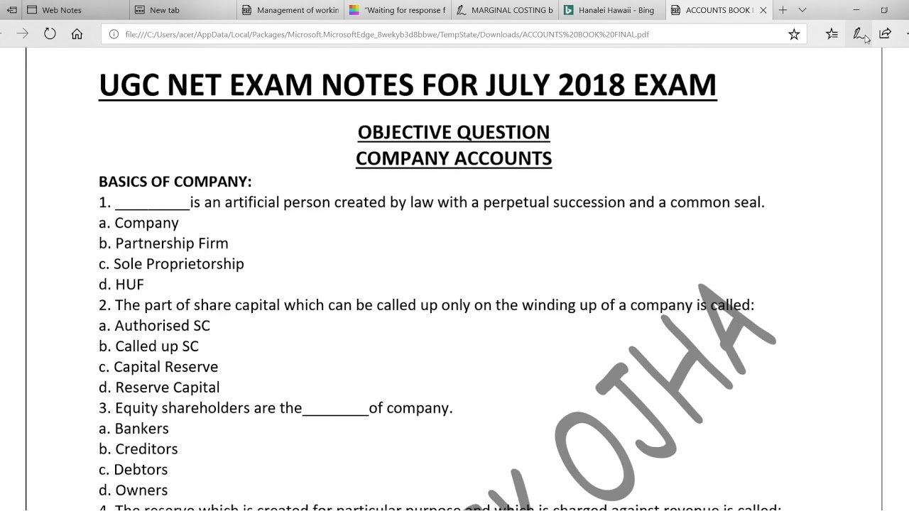COMPANY ACCOUNTS | MCQ |PART 1| UGC NET COMMERCE | JUNIOR ACCOUNTANT