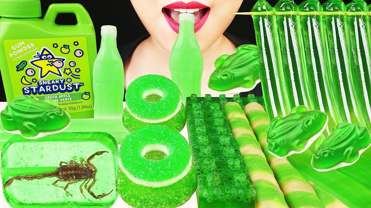ASMR GREEN FOOD: REAL SCORPION SUCKER, GUM POWDER, GUMMY FROGS, FROG EGG LEGO, MOCHI, GUM POWDER 먹방