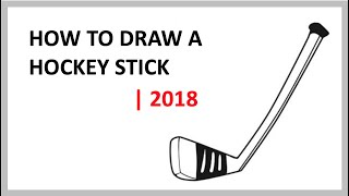 HOW TO DRAW A HOCKEY STICK (STEP BY STEP GUIDE FOR BEGINNERS) - VERY EASY | 2018