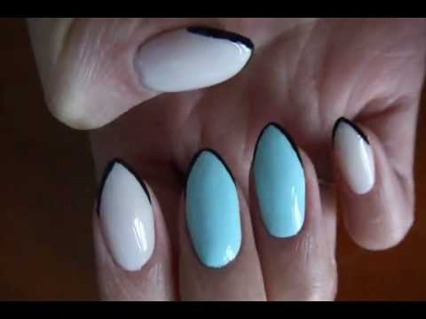 A Twist On French Tip For Pointy Almond Shape Nails