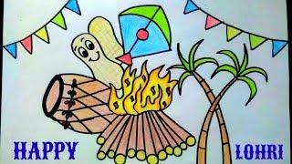 lohri easy drawing happy draw