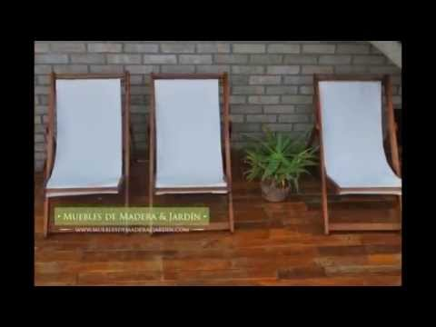 Reposeras playeras muebles de madera y jard n com youtube for Muebles de madera para jardin