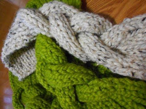 Bufanda en trenzas con agujas punto elastico youtube - Puntos de lana a dos agujas ...