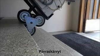 Pesukoneen kuljetus portaissa porraskärryillä