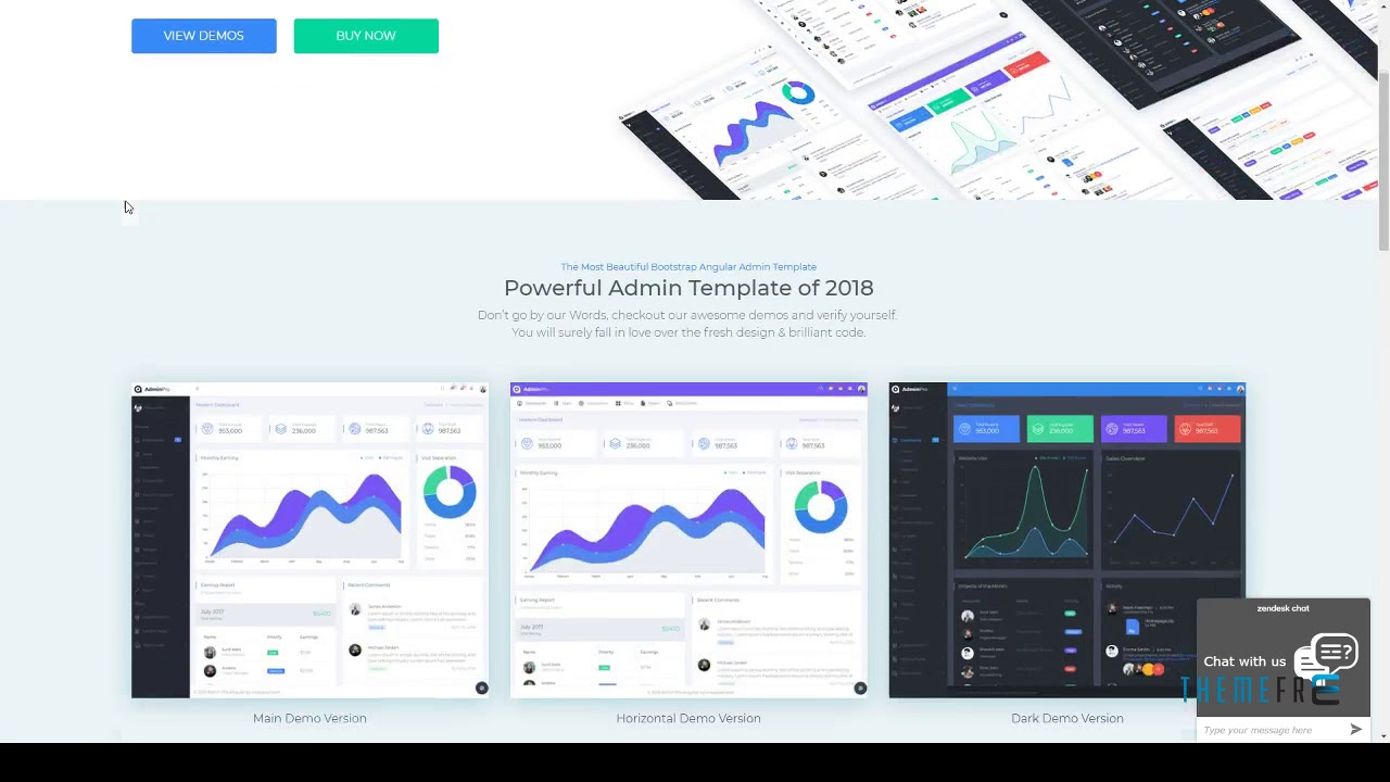 AdminPro Angular 6 Dashboard Template Odell Tom