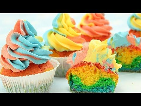 Rainbow Cupcakes & Rainbow Swirl Buttercream Frosting