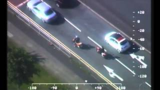 Scrambler bike wheelies captured by police helicopter