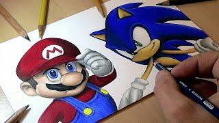 Drawing Mario vs Sonic