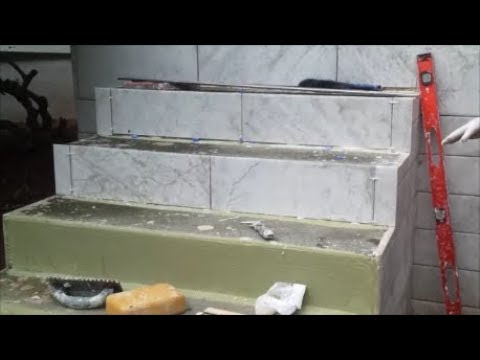 How To Tile An Outdoor Concrete Stairs Part 1   Tile The Vertical Side    Step By Step