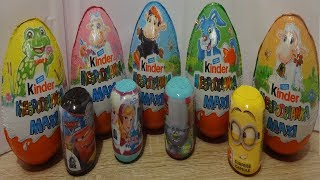 Trolls Frozen Cars Minions VS Kinder MAXI 10 Surprise Eggs Opening #114