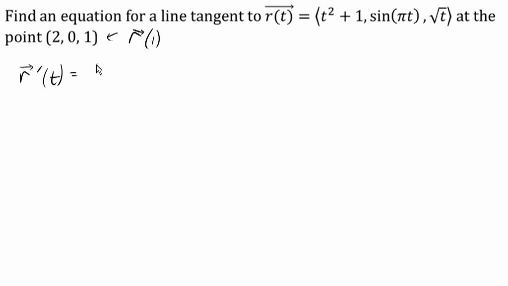 Tangent line to a vector equation