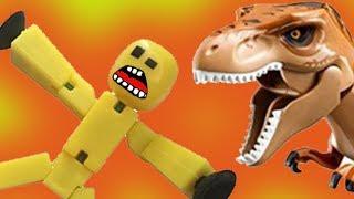 Стикбот, стена и динозавр! Мультики с игрушками для детей