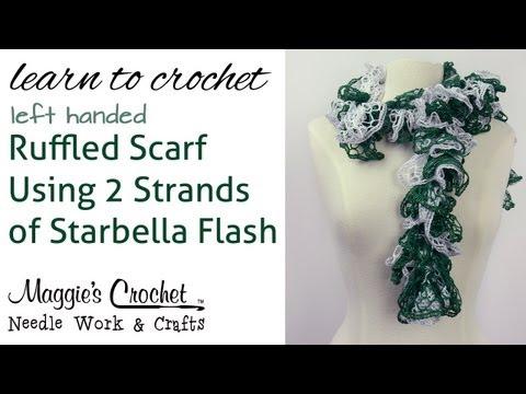 Crochet Ruffled Scarf Using 2 Strands of Starbella Flash