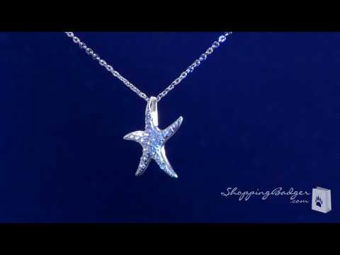 Sterling Silver CZ Starfish Pendant Necklace