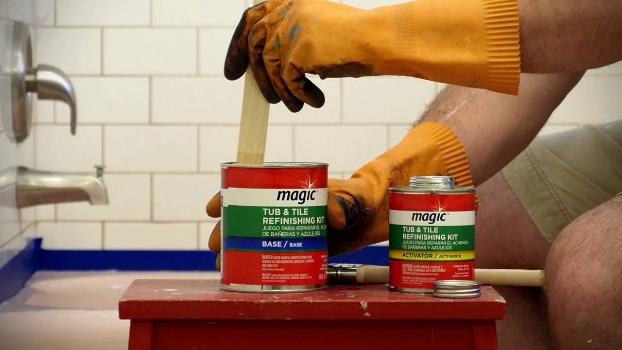 how to refinish your tub with the magic paint on tub tile kit