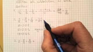 addition och subtraktion med bråk matte 1c