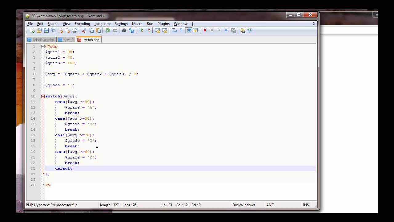 Php tutorial switch statement grade calculator youtube ccuart Gallery