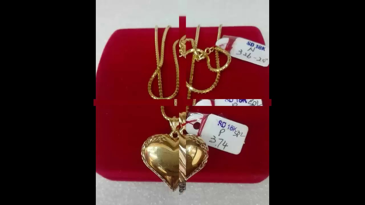 18k Saudi Gold Chain Pendant Set Designs With Weight Youtube