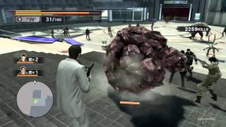 Gattling gun arm and other character weapons - Yakuza Dead Souls Gameplay