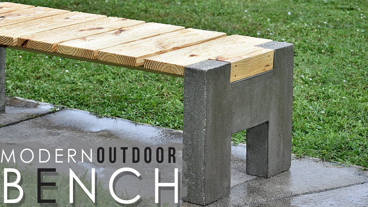 MODERN Outdoor Concrete And Wood BENCH YouTube - Concrete patio table with benches