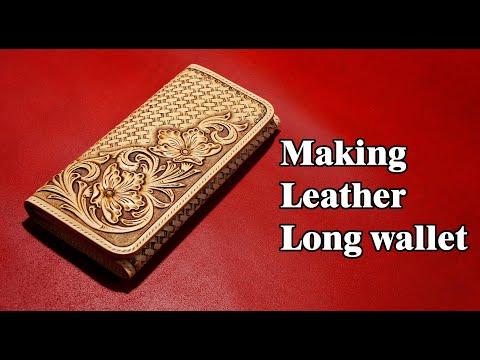 53 [Leather Craft] Making Leather Long Wallet / [가죽공예] 가죽 장지갑 만들기 / Free Pattern