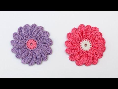 Как связать цветок крючком   Цветок крючком для шапочки