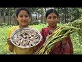 Kochur Loti & Sutki Mach Recipe | Arum Lobe and Dry Fish Curry Cooking By Street Village Food