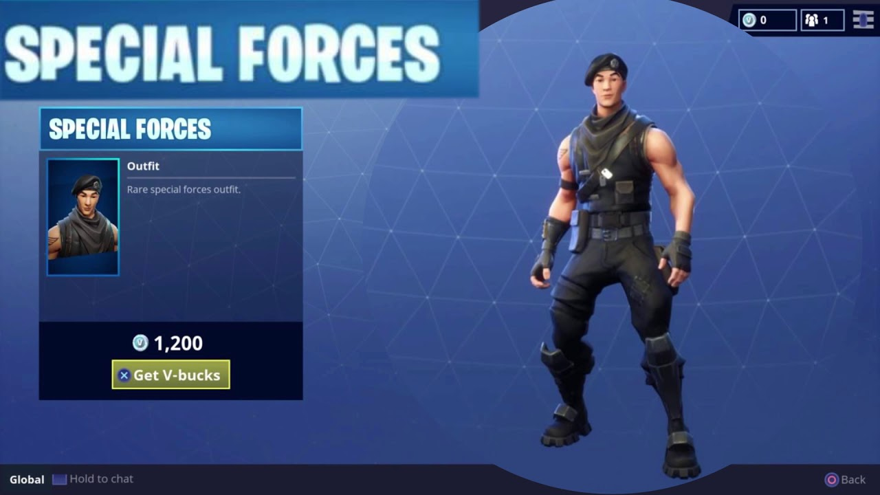 Special Forces Character Outfit Rare Vbucks Daily Item in Fortnite Battle Royale - YouTube