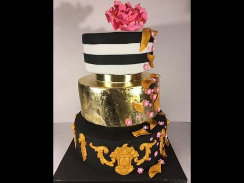Decorating A Cake With Gold Leaf : Decorating a dummy cake with gold leaf and gum paste ...