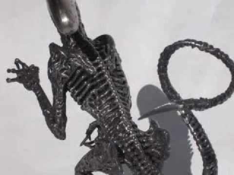"Mig Welded 12"" Alien 3 Dog Sculpture from Steel Nails"