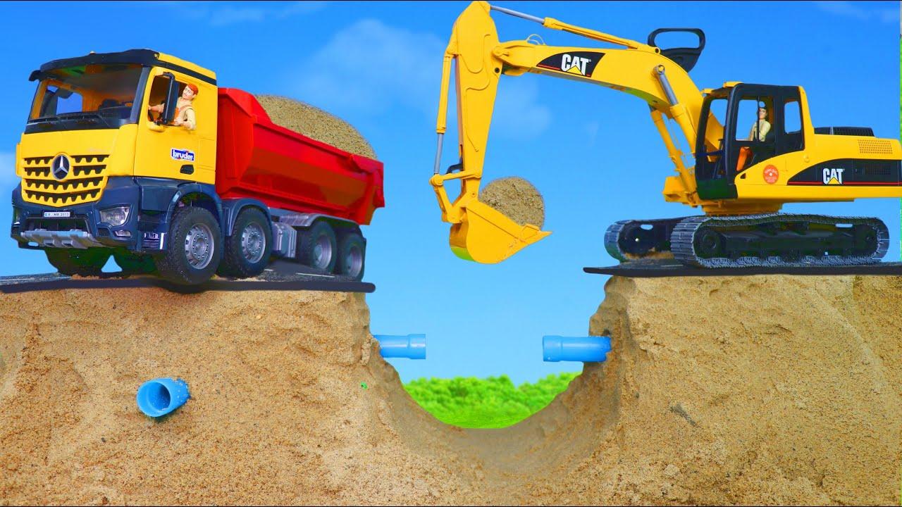 Traktör, Arabalar çizgi film, Ekskavatör ve Yeni - Itfaiyeci oyuncak - Excavator Toys