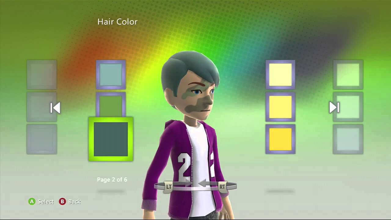 xbox 360 avatar glitch - how to get more hair color options - youtube