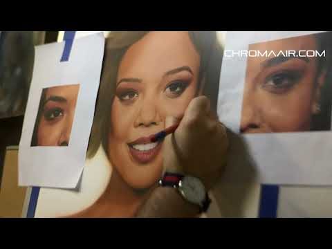 Airbrushed Portrait Tessa Thompson On Synthetic Scratchable Paper.  Step By Step Photorealism